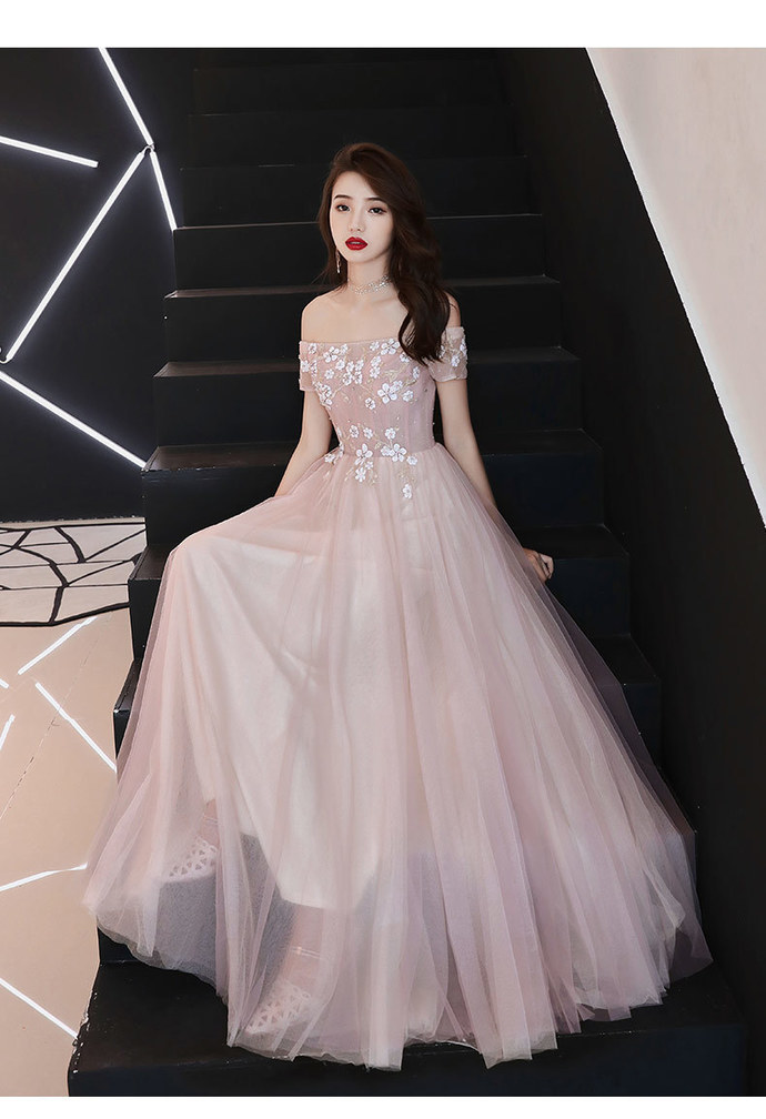 Charming Pink Tulle A-line Long Prom Dress, Pink Bridesmaid Dress