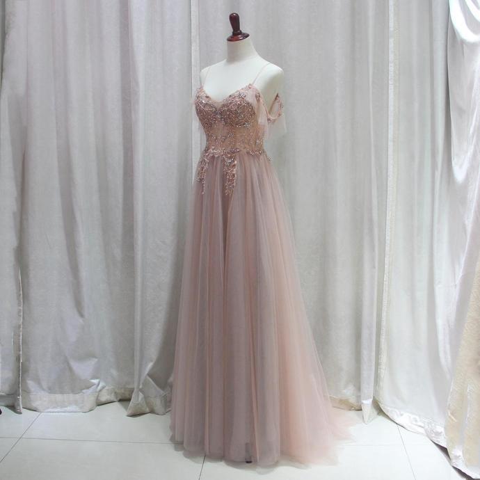 Sexy Pink Straps V-neckline Short Prom Dress, Pink Long Party Dress 2020