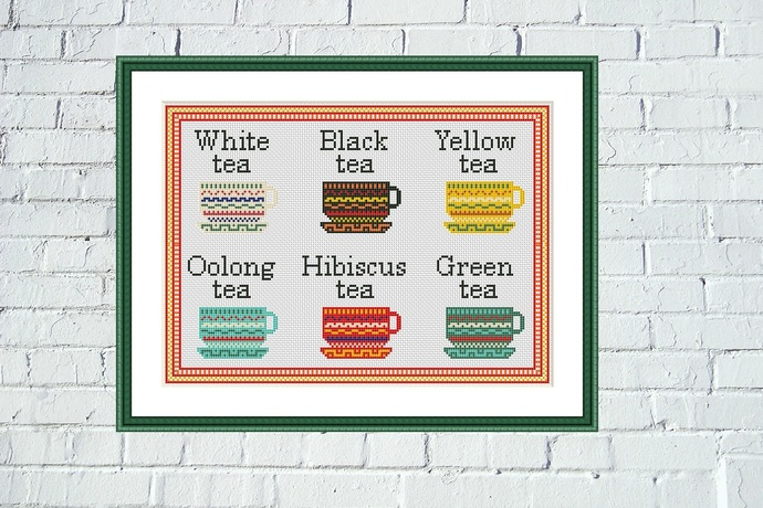Tea cups cross stitch pattern Kitchen bright ornament embroidery