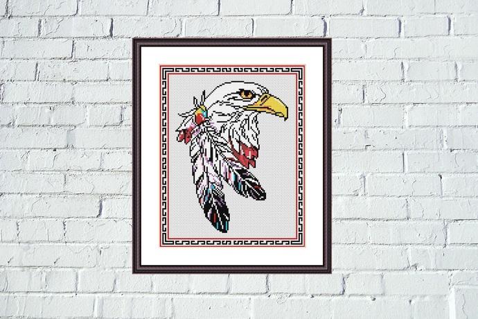 Wild eagle cross stitch pattern Cute animals easy design embroidery
