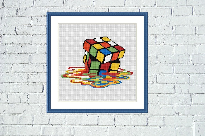 Melting Rubik's cube cross stitch pattern Easy colorful embroidery design for
