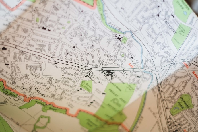 Vintage map - Cardiff - Large Scale Detailed Street Plan - an old map, printed
