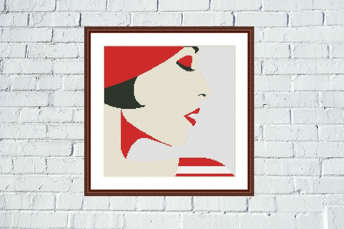 Woman in red cross stitch pattern Easy bright embroidery design for beginner