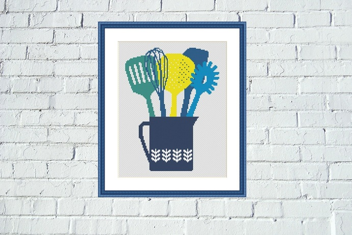 Kitchen utilities cross stitch pattern Easy housewarming embroidery design