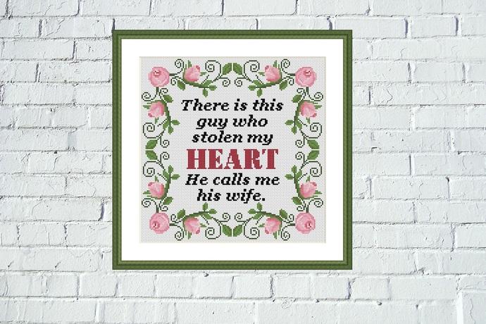 Guy who stolen my heart Romantic Valentines cross stitch pattern