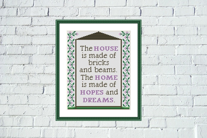 The house is made of bricks and beams Home Sweet Home cross stitch pattern