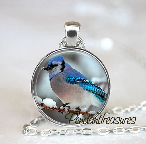 BLUE JAY Art Pendant Necklace Blue Jay Jewelry, Blue Jay Charm Handmade Glass