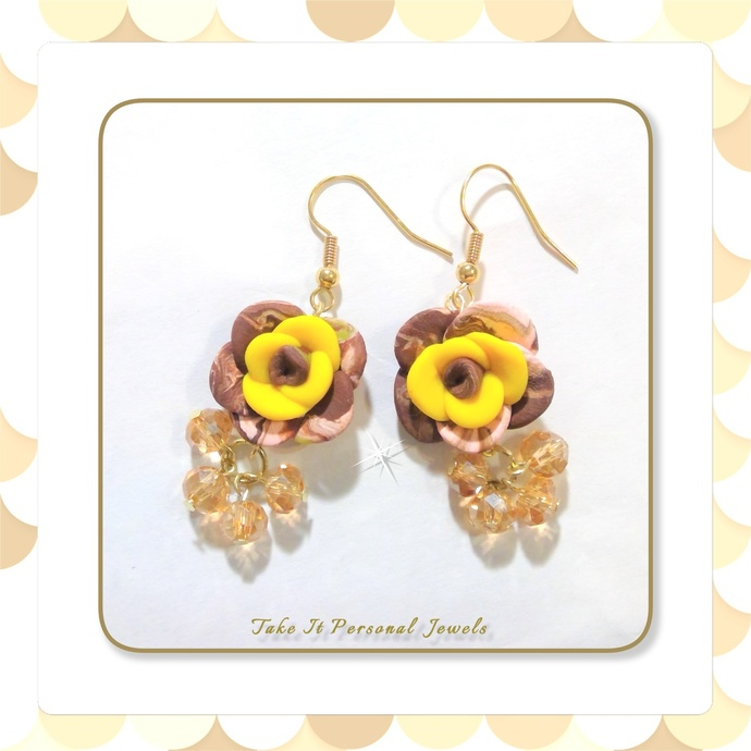 Amber Crystal Flower Dangle Earrings Valentine's Day Gift