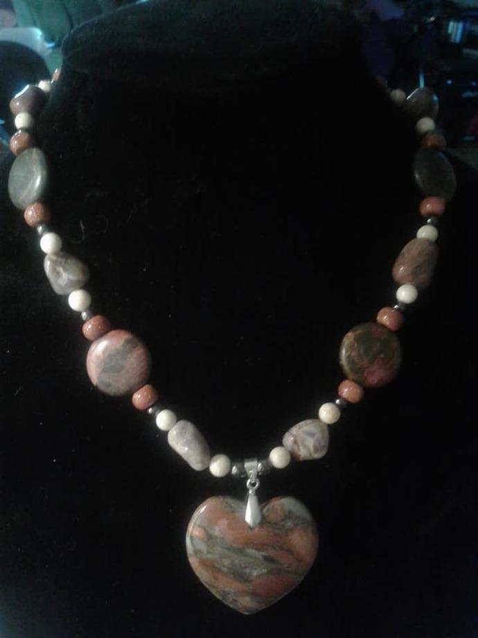 Silver Leaf Jasper Necklace