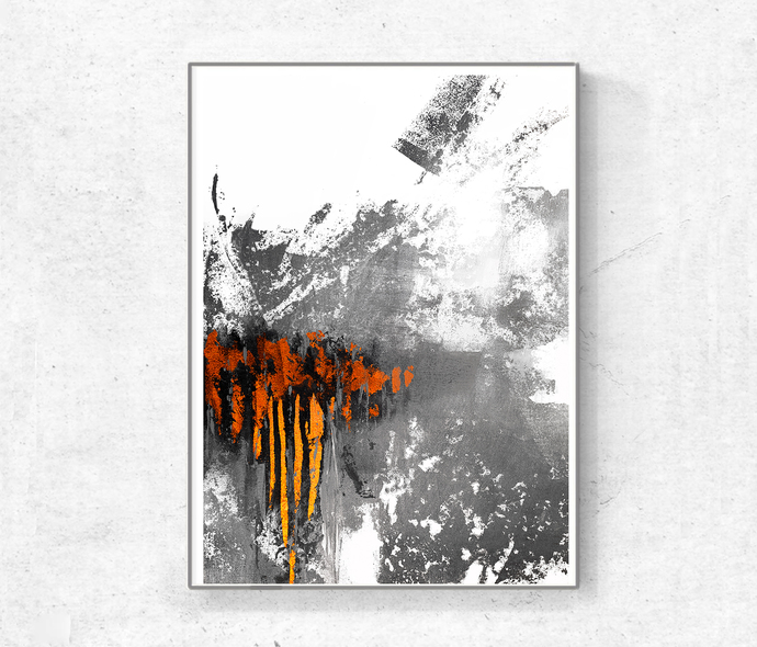 Printable Art, Art Poster, Digital Download set of 3, orange and gray , modern