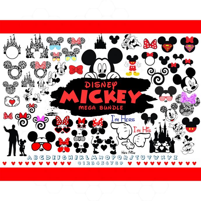 Disney mickey mega bundle svg, disney svg, disney bundle svg, mickey mouse head