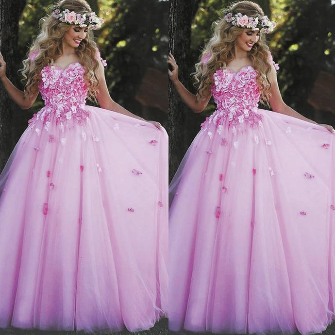 handmade flower pink prom dresses long tulle a line elegant sweetheart neckline