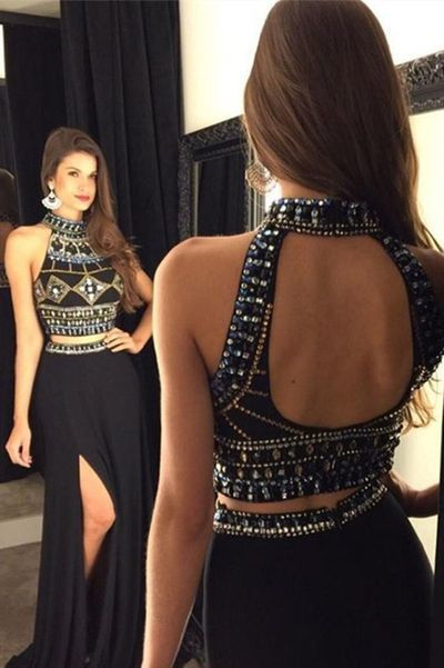 two piece prom dresses long chiffon black high neck beaded crystals prom gown