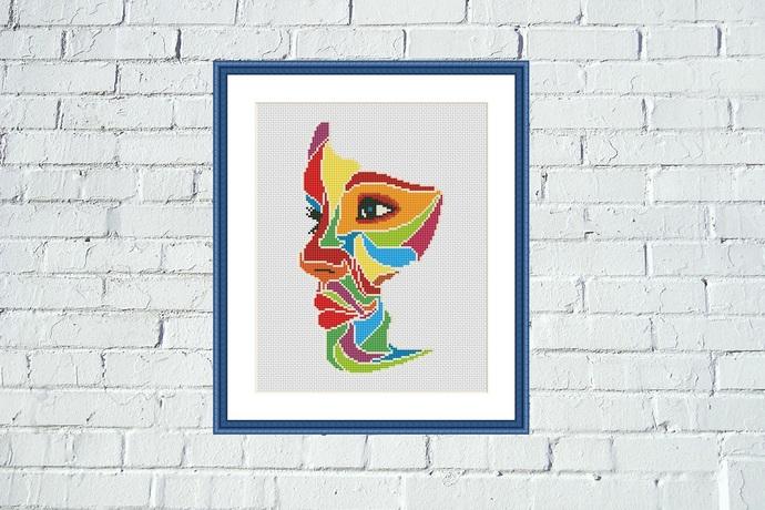 Abstract woman face cross stitch pattern