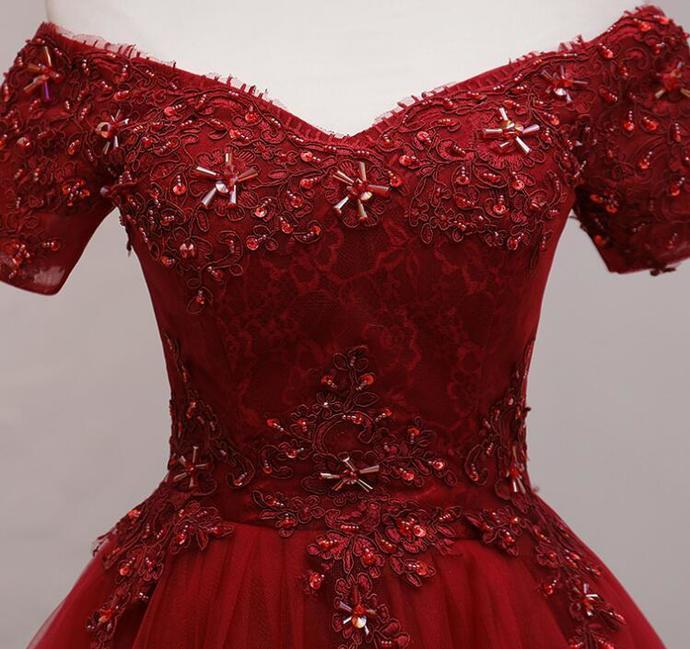 Lovely WIne Red Tulle Sweetheart Short Prom Dress, Short Sleeves Homecoming