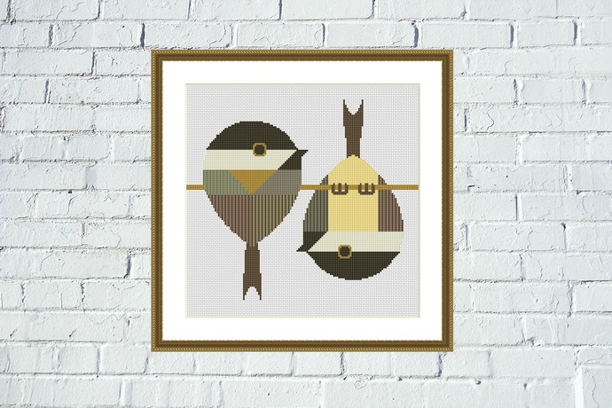 Sparrows cute animals cross stitch pattern