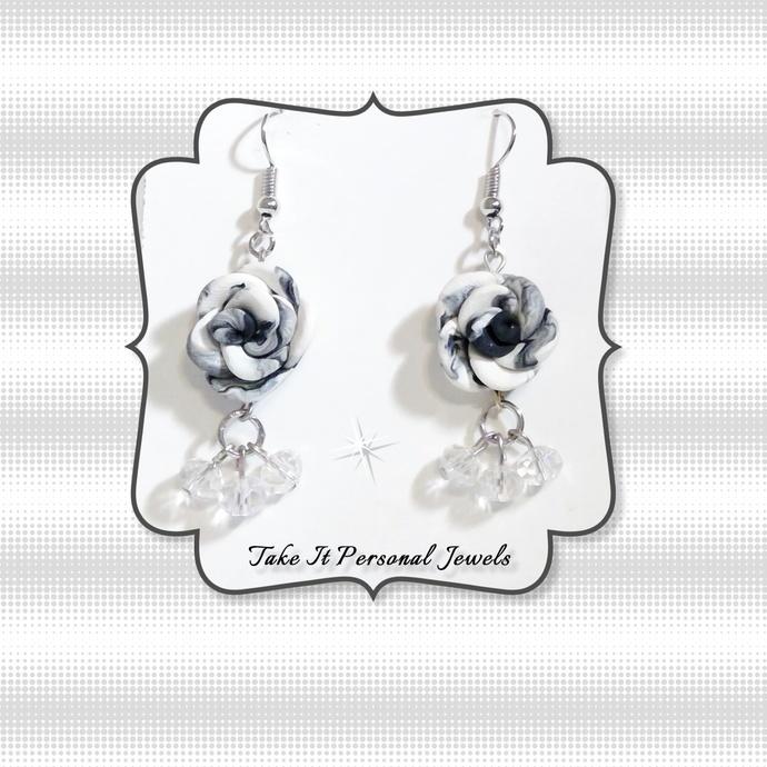Black White Rose Crystal Dangle Earrings Hypoallergenic Hook Ear Wire