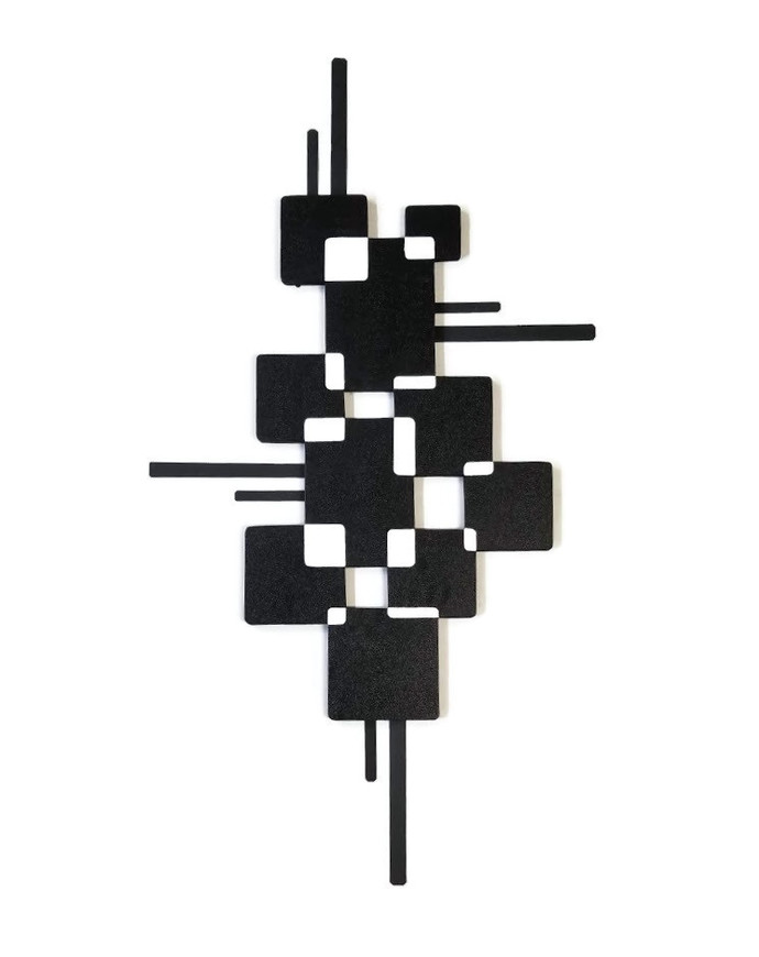 Modern Square wall decor, Black White Wall sculpture, Metal wall art, Minimalist