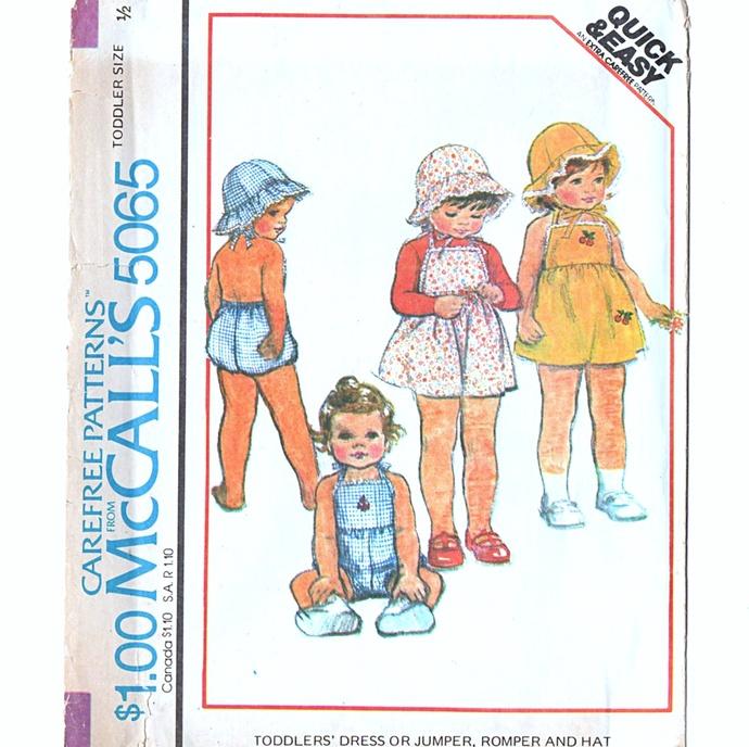 McCall's 5065 Toddler Bibbed Romper, Dress, Jumper Hat 70s Sewing Pattern Uncut