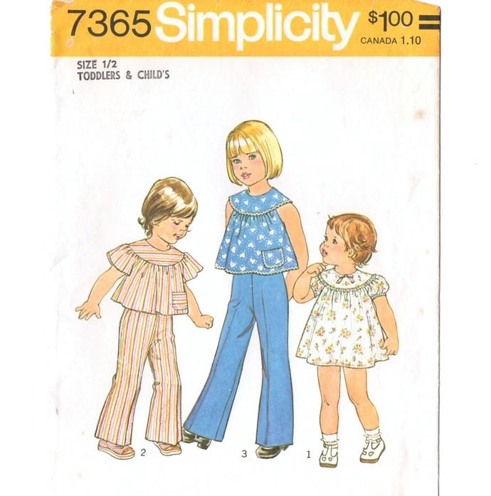 Simplicity 7365 Toddler Girl Dress, Top, Pants 70s Vintage Sewing Pattern Uncut