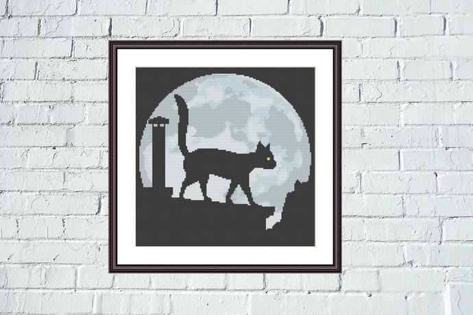 Night black cat and the Moon Funny cross stitch pattern