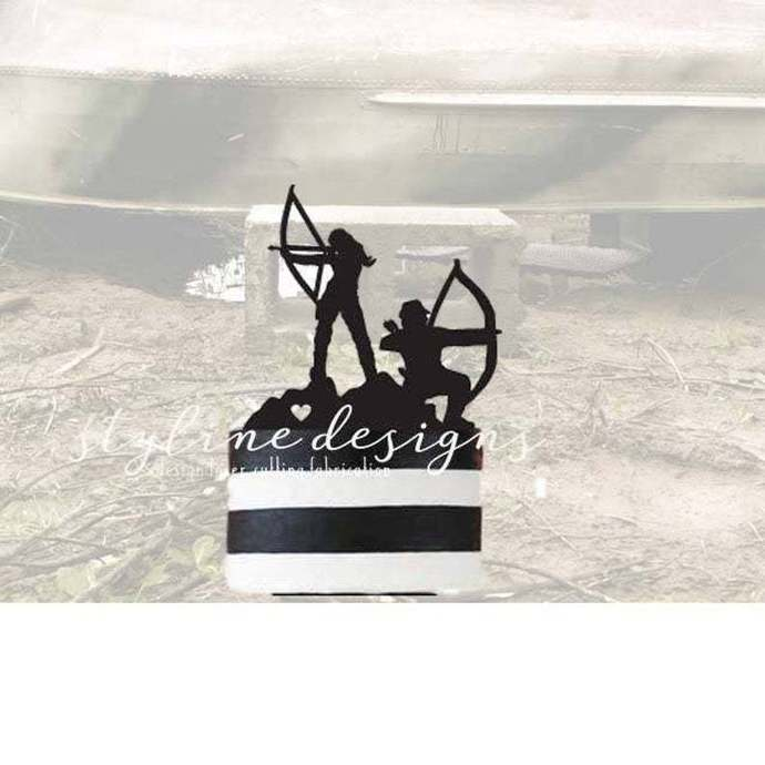 Outdoor Bow Couple Romantic Cake Topper
