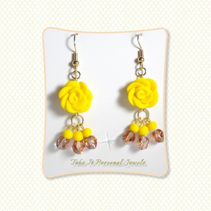 Yellow Rose Crystal Dangle Earrings
