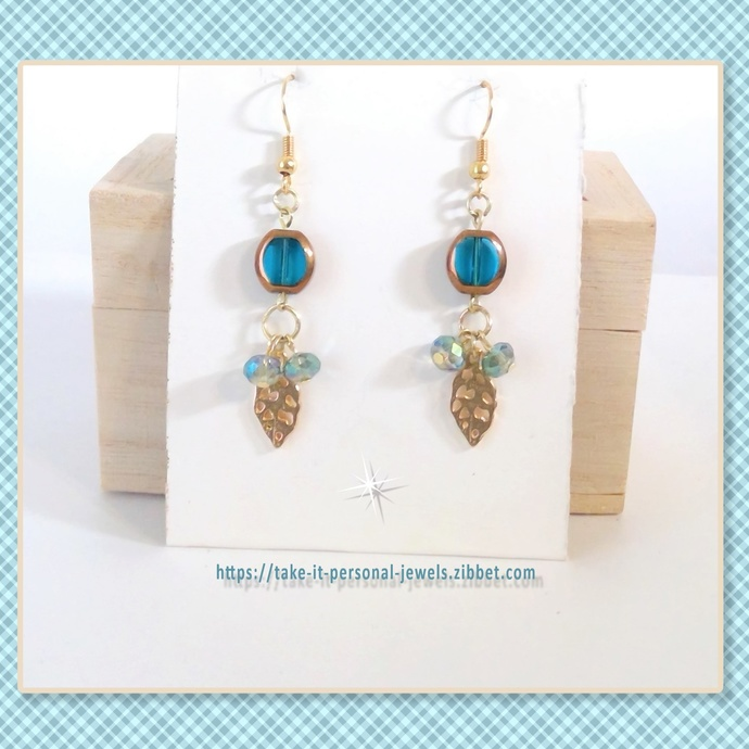 Crystals and Leaves Dangle Earrings Teal or Red  Hypoallergenic Ear Wire