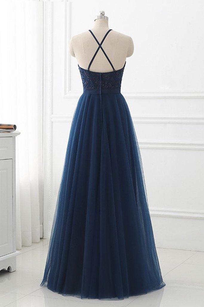 Beautiful Navy blue Halter Long Party Dress, Blue Lace Applique Long Formal