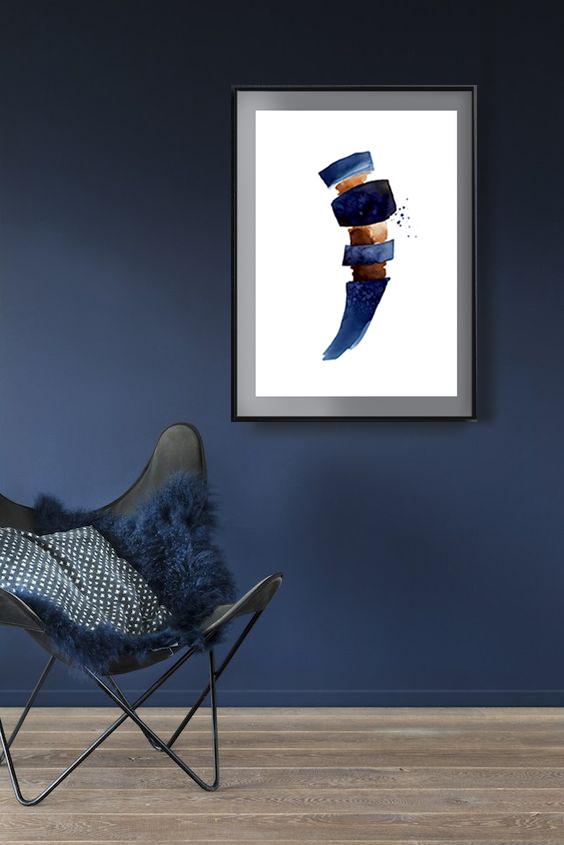 Scandinavian abstract, Printable Art, indigo and brown, Art Poster, Digital