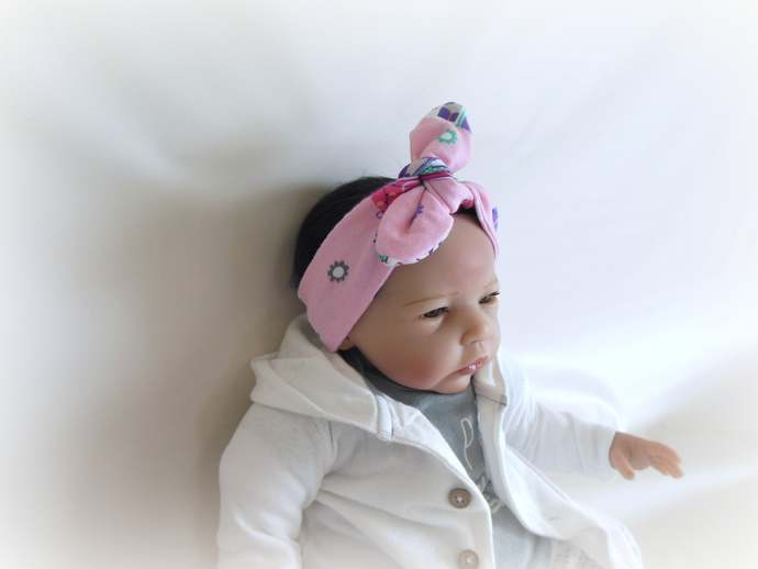 Infant Tie Knot Headband in Pink Camper Print