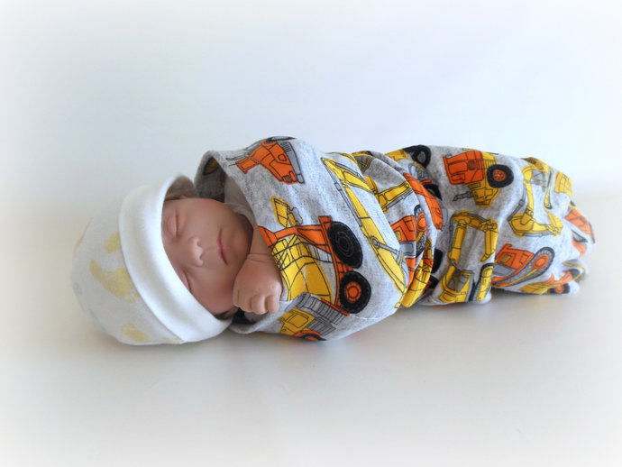 Swaddle Sack, Sleep Sack, Cocoon, Blanket in Construction Equipment Print