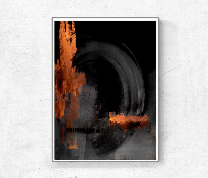Printable Abstract Art, Black and copper, instant download art, Abstract Art,