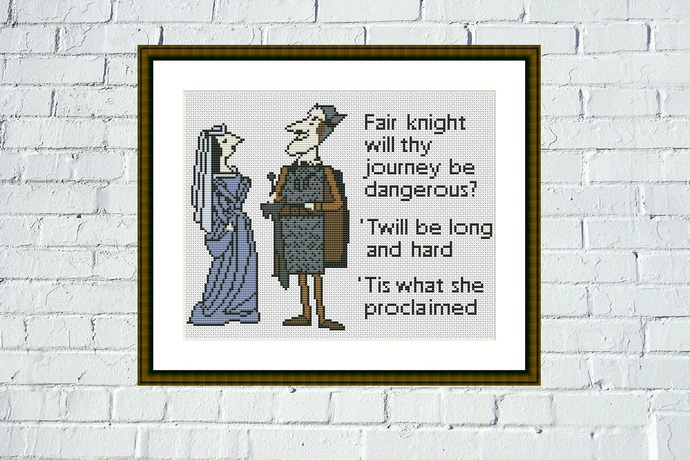 Tis what she proclaimed Medieval meme funny cross stitch pattern