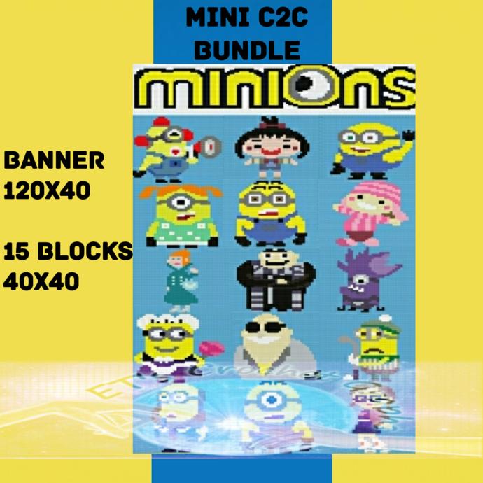Minion Mini C2C Bundle - 16 Patterns includes Graphs & Color Charts
