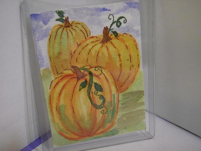Autumn Pumpkin Harvest original ACEO watercolor painting