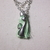 Green tassel necklace with silver color cat charm