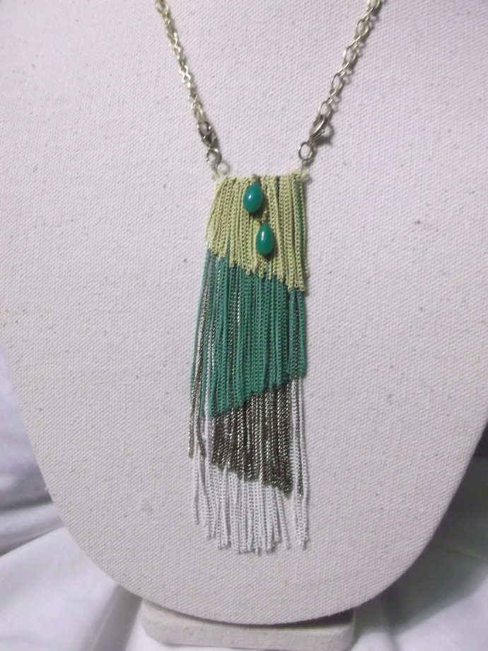 Chain tassel necklace yellow, green, gold, and white with green bead dangles