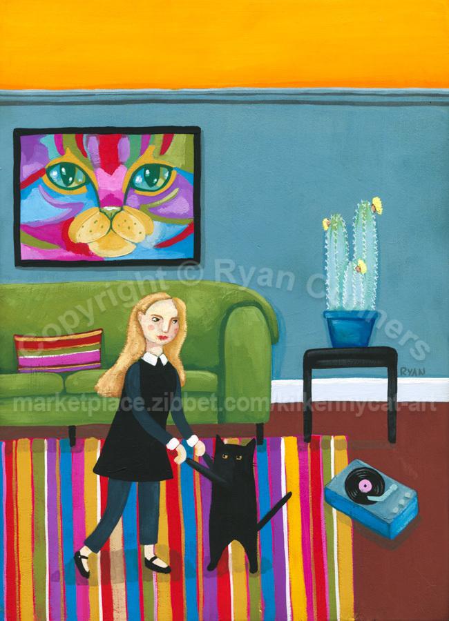 A Little Dance Party Original Girl and Cat Folk Art Painting