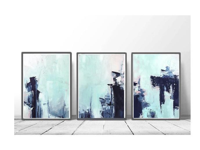 Pink Navy Mint Triptych Wall Art, Set of 3 Prints, Digital Download, Modern