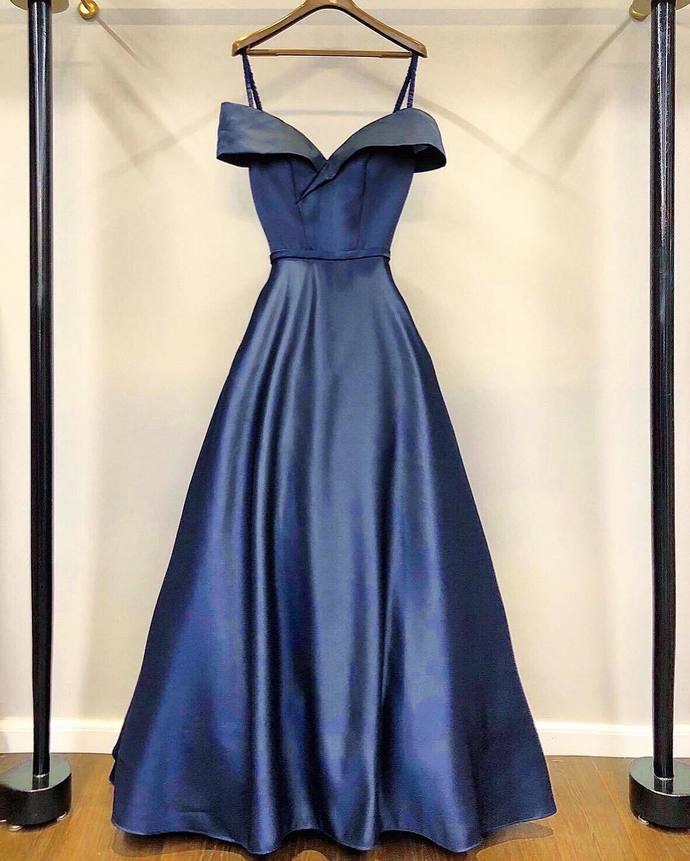 Night Blue Prom Dress,Satin Prom Gown,A-Line Evening Dress,Off the Shoulder Prom