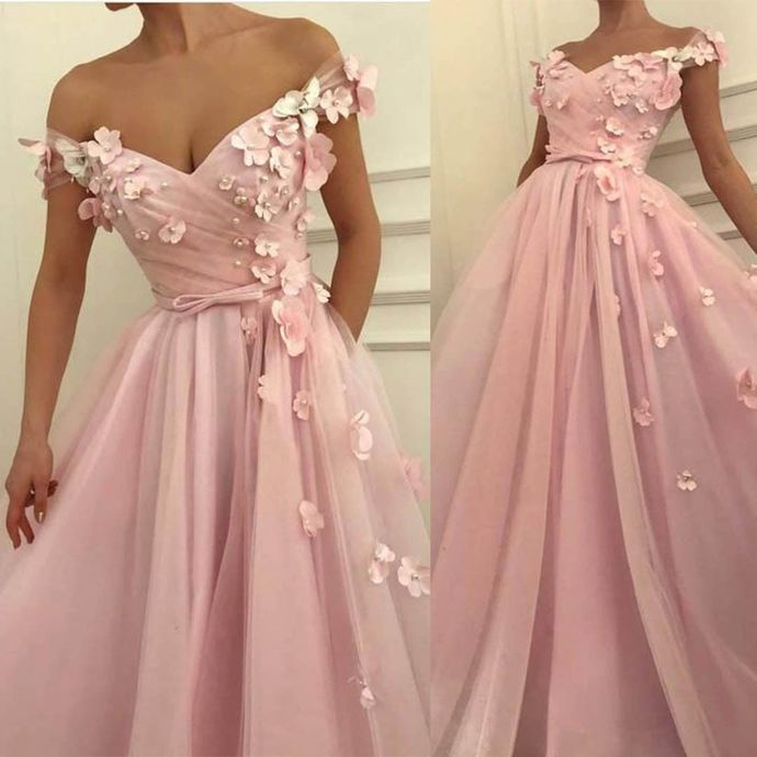Pink Prom Dress,Tulle Prom Gown,Appliques Evening Dress,Off the Shoulder Prom