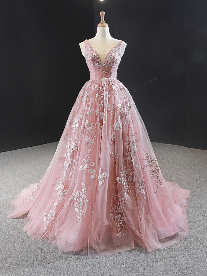 Gorgeous Pink V-neckline Tulle Prom Gown, Long Formal Dress 2020