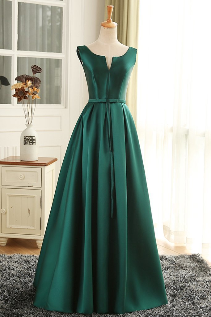Deep Green Satin V Neck Long Prom Dress, Green Formal Dress