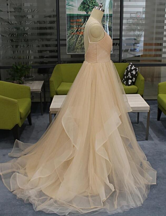 Charming Champagne Tulle Spaghetti Long Open Back Ruffles Prom Dress, Long