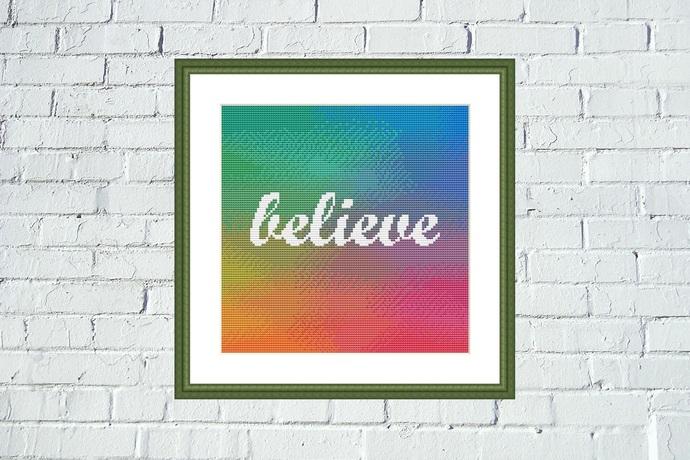 Believe gradient background cross stitch pattern