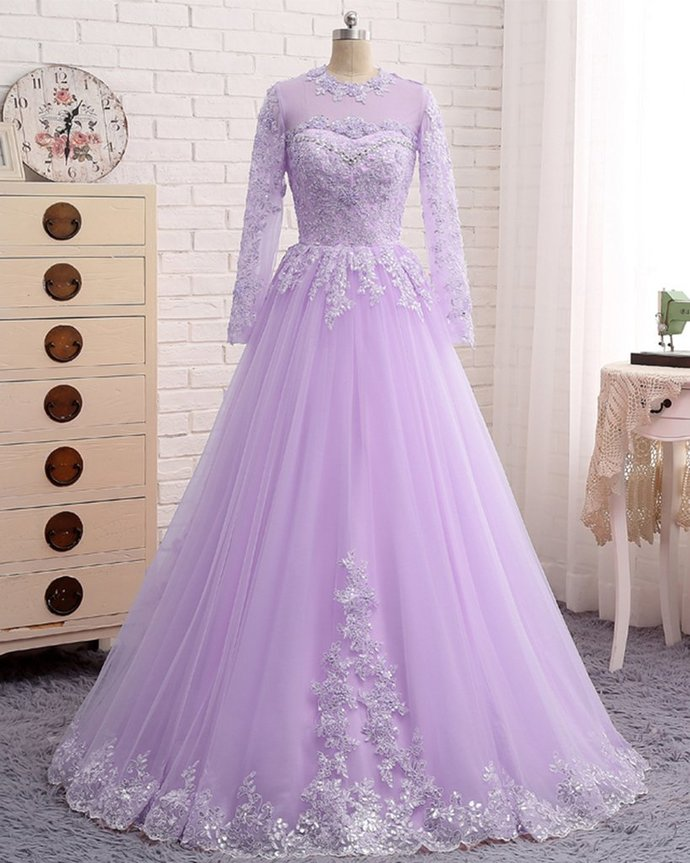 Lavender Tulle Long Sleeve Beaded Formal Prom Dress With Lace Applique