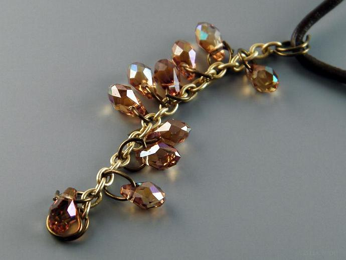 Copper Topaz Necklace Swarovski Crystal Teardrops Brown Leather