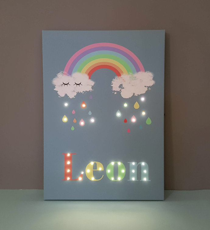 Rainbow name sign, Nursery rainbow decor, Personalized lighted sign, Over the