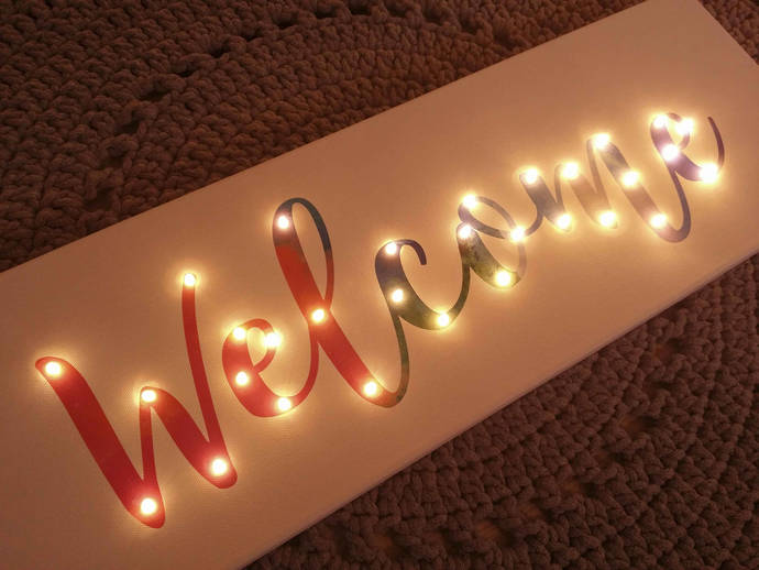 Light up welcome sign, Entryway decoration, Welcome decoration, Light up